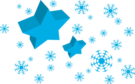 Vector Blue Star and Snow flakes background, xmas card