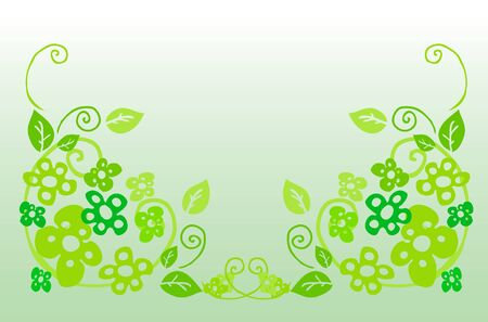 Flower frame, green floral background Stock Photo