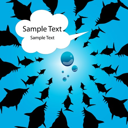 killer waves: silhouette Flight of sharks round object. Attack, aggression background with text  cloud area