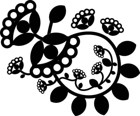 Vector flower tattoo element, black and white ornament