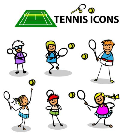 Tennis icons, fake cartoon sport emblems, vector illustration Stock Photo