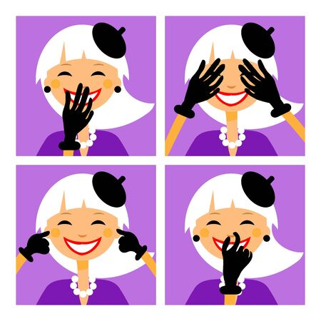 senses: No senses. Female psychology I see nothing, hear nothing, I will tell nothing, I feel nothing. Sings, icons, button. Stock Photo