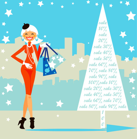 Christmas shopping card, sales in the city. Woman at the winter street background, poster