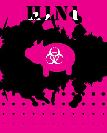 swine flu: Medical H1N1 Swine Flu grunge poster with pig, medical  biohazard background, illustration