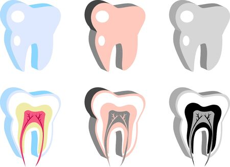 carious: Medical Dental icons, tooth scheme, emblem, illustration. Simply change. Other medical vectors you can see in my portfolio Stock Photo