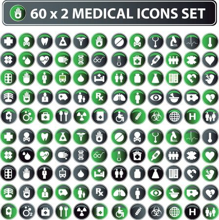 60x2 shiny Medical icons, button web set, eco color