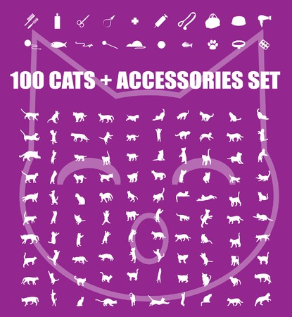 Great 100 cats and accessories icons set, vector pet emblem, cats staff sign silhouette, web buttons Stock Photo