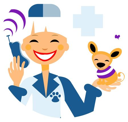 call card: Pets doctor call card, emblem, poster, icons. Woman with dog calling by phone