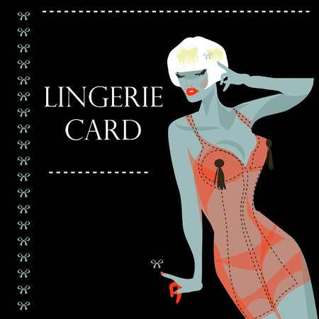 lingerie card with beautiful sexy woman and ribbon. Background, banner, poster for shop