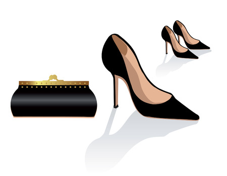 Black stiletto shoes and bag, vector fashion illustration, classic elegant glamour woman accessories Stock Photo