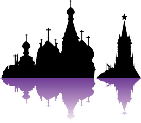 Vector Russia Moscow City Skyline, Silhouette
