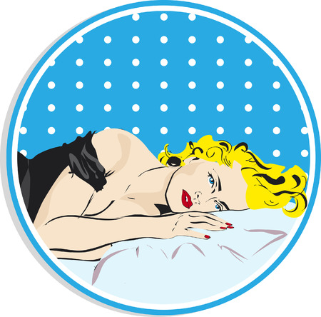 Beautiful blond woman face with red lips and nails on the black dress sleeping on bed.Relaxing in popart retro style sticker, label, tag Stock Photo