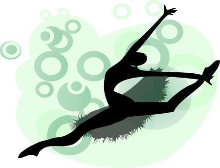 Young ballet woman, beautiful dancer in jump silhouette