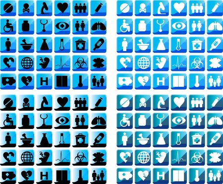SHiny  Medical icons set of 30x4 medical icons and warning-signs. Black-white and blue web button