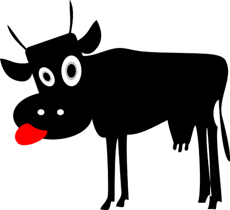 Vector Mad Cow silhouette. Funny cartoon icon, illustration, tag