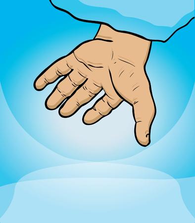 help symbol: Gods hand, help symbol, sky