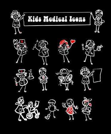 nurse home: black background medical icons set,kids cartoon kids & medical staff, medical equipments and people vector