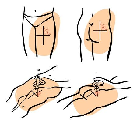 prick: medical prick, injection icons isolated on white background, Hand holding a syringe