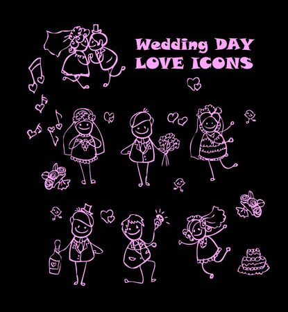 wedding dress back: wedding love icons set, kids cartoon design, isolated wed people vector