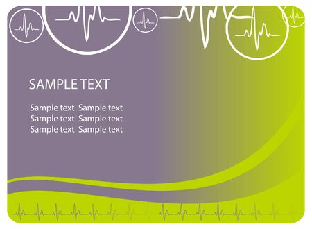 cardiological: Vector cardio blue background with ecg icons and text area. Great for scientific, medical purposes. Stock Photo