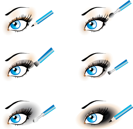 smoky black: Flawless Eye Makeup icons. Makeup Trends - Black Shadow , Smoky. One of series mak-up rules illustrations Stock Photo