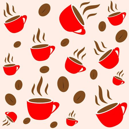 red cup: Coffee time, red cup and bean seamless vector wallpaper, background Stock Photo