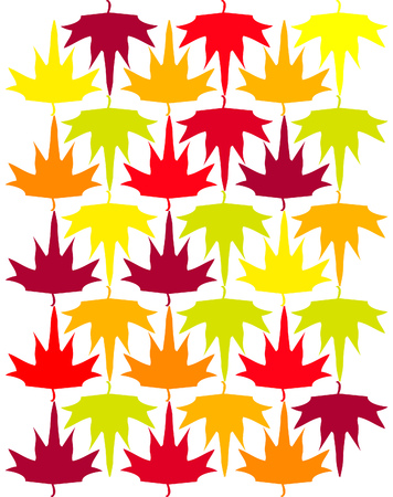 Seamless vector autumn maple leaves background, pattern