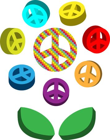 pacifism: Peace symbols, pacifism flower, colored signs Stock Photo