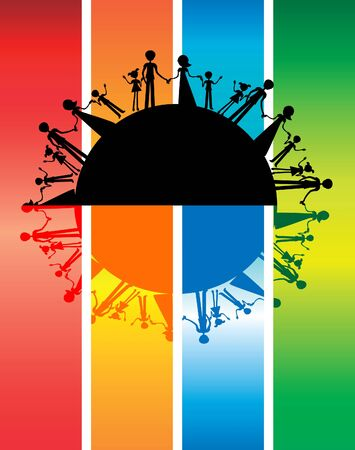 mutual: All families in the world silhouette , international peace, friendship, mutual aid. Parenthood background Stock Photo