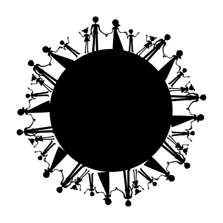 parenthood: All families in the world silhouette, international peace emblem, friendship, mutual aid. Parenthood background