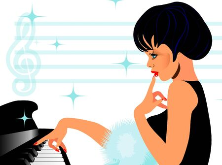 conservatory: Fashion Pretty girl playing on piano with boa, in black dress. Music theme.One of series Cartoon  illustration in pinup retro style