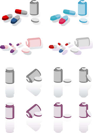 pillbox: Pillbox with label, cap open and scattered pills icons set, medical illustration