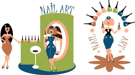 retail therapy: Beauty salon meeting. Nail art for woman illustration, emblem,symbols. Vector illustration.