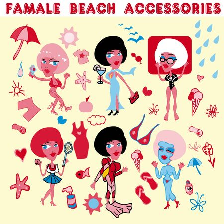 suntan lotion: Female beach accessories icons.Woman vacation
