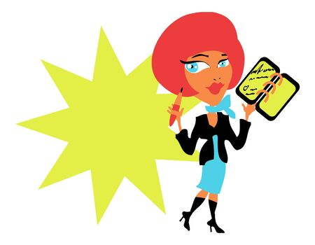 dress code: Business woman with diary and pen in work suit, dress code card, tag, header Stock Photo