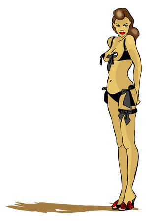 night suit: Sexy woman, fake tattoo illustration Stock Photo