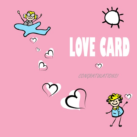 bombing: Card by Day of Valentine, vector cartoon love