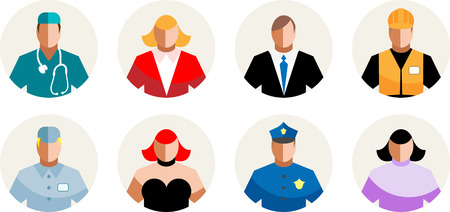 sitter: 8 Vector Icons diverse people, professions, staff