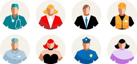 gogo girl: Vector 8 Icons unterschiedliche Menschen, Berufe, Personal Lizenzfreie Bilder