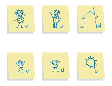 4 people: family icon vector banner, fake paper card, poster. 4 people and house, sun, nature 1