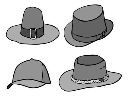 collectible: Divers hat, old and modern, vector Stock Photo