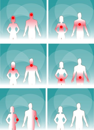 urogenital: Medical man & woman, human body pain.Head, Neck,Joints, Urinogenital system, Stomach, Lungs background