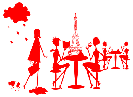 eurostar: Group of divers woman in Paris silhouette, France cafe, restourant