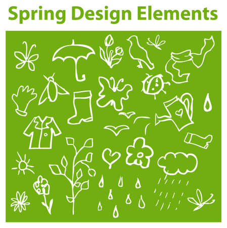 flowerpower: Spring Design Elements, season icons, tag, emblem Stock Photo