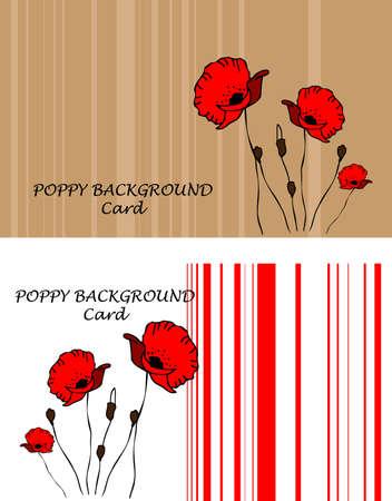 Poppy background, fake paper card