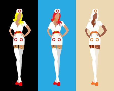 medical staff: Sexy woman medical staff isolated on background set