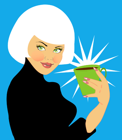 siluetas: Beautiful young woman with coffee cup cartoon retro style