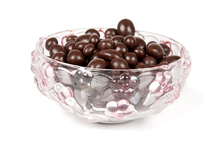 raisins in the chocolate in a vase