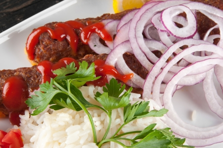 shish kebab: shish kebab with rice Stock Photo