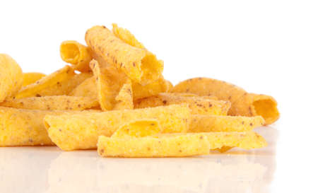 titbits: cheese potato chips on a white background